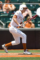 Outfielder Erich Weiss #6 of the Texas Longhorns swings against Texas Tech on April 17, 2011 at UFCU Disch-Falk Field in Austin, Texas. (Photo by Andrew Woolley / Four Seam Images)