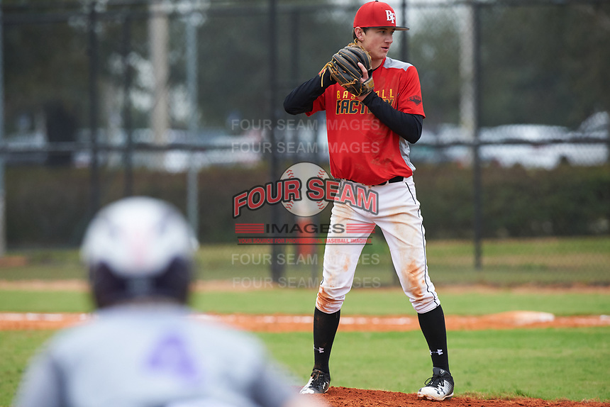 Brayton Wilmes (13) of Monument, Colorado during the Baseball Factory All-America Pre-Season Rookie Tournament, powered by Under Armour, on January 13, 2018 at Lake Myrtle Sports Complex in Auburndale, Florida.  (Michael Johnson/Four Seam Images)