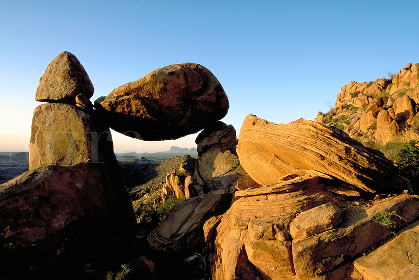 Grapevine Hills, an eroded laccolith, balanced rock, igneous boulder. Texas, Big Bend National Park.