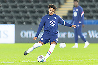 SWANSEA, WALES - NOVEMBER 12: Weston McKennie of the United States warms up during a game between Wales and USMNT at Liberty Stadium on November 12, 2020 in Swansea, Wales.