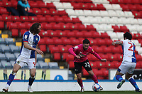 16th April 2021; Ewood Park, Blackburn, Lancashire, England; English Football League Championship Football, Blackburn Rovers versus Derby County; Patrick Roberts of Derby County takes on Sam Gallagher and Lewis Travis of Blackburn Rovers