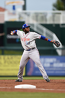 St. Lucie Mets third baseman Aderlin Rodriguez (34) throws to first during a game against the Fort Myers Miracle on April 18, 2014 at Hammond Stadium in Fort Myers, Florida.  St. Lucie defeated Fort Myers 15-9.  (Mike Janes/Four Seam Images)