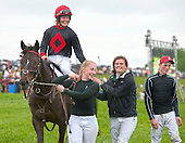 #45. Jockey Amy Mullen won her first race aboard Indian Creek Queen. Mary Motion, center, also won her first race, aboard veteran Woodmont for trainer Neil Morris.