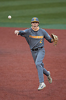 Tennessee Volunteers second baseman Max Ferguson (2) makes a throw to first base against the Charlotte 49ers at Hayes Stadium on March 9, 2021 in Charlotte, North Carolina. The 49ers defeated the Volunteers 9-0. (Brian Westerholt/Four Seam Images)
