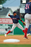Lowell Spinners shortstop Antoni Flores (19) throws to first base during a NY-Penn League game against the Batavia Muckdogs on July 11, 2019 at Dwyer Stadium in Batavia, New York.  Batavia defeated Lowell 5-2.  (Mike Janes/Four Seam Images)