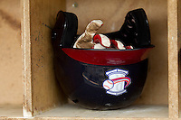A Rome Braves batting helmet at State Mutual Stadium on May 1, 2011 in Rome, Georgia.   Photo by Brian Westerholt / Four Seam Images