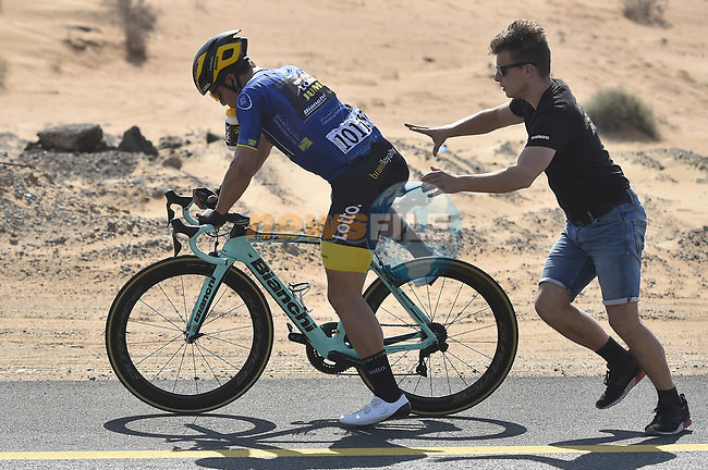 Mechanical for race leader Dylan Groenewegen (NED) Team Lotto NL-Jumbo during Stage 3 The Silicon Oasis Stage of the Dubai Tour 2018 the Dubai Tour's 5th edition, running 180km from Skydive Dubai to Fujairah, Dubai, United Arab Emirates. 7th February 2018.<br /> Picture: LaPresse/Fabio Ferrari | Cyclefile<br /> <br /> <br /> All photos usage must carry mandatory copyright credit (© Cyclefile | LaPresse/Fabio Ferrari)