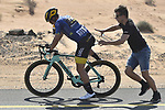 Mechanical for race leader Dylan Groenewegen (NED) Team Lotto NL-Jumbo during Stage 3 The Silicon Oasis Stage of the Dubai Tour 2018 the Dubai Tour's 5th edition, running 180km from Skydive Dubai to Fujairah, Dubai, United Arab Emirates. 7th February 2018.<br /> Picture: LaPresse/Fabio Ferrari   Cyclefile<br /> <br /> <br /> All photos usage must carry mandatory copyright credit (© Cyclefile   LaPresse/Fabio Ferrari)