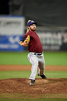 Mahoning Valley Scrappers relief pitcher Zack Draper (32) delivers a pitch during a game against the Batavia Muckdogs on September 5, 2017 at Dwyer Stadium in Batavia, New York.  Mahoning Valley defeated Batavia 4-3.  (Mike Janes/Four Seam Images)