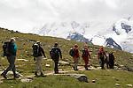 Climbers near the Matterhorn above Zermatt, Switzerland,