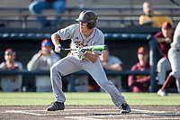 Central Michigan Chippewas third baseman Zach Heeke (3) squares to bunt against the Michigan Wolverines on May 9, 2017 at Ray Fisher Stadium in Ann Arbor, Michigan. Michigan defeated Central Michigan 4-2. (Andrew Woolley/Four Seam Images)
