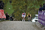 Dutch Champion Mathieu Van Der Poel (NED) Alpecin-Fenix and Wout Van Aert (BEL) Team Jumbo-Visma battle it out on the final ascent of the Paterberg during the Tour of Flanders 2020 running 244km from Antwerp to Oudenaarde, Belgium. 18th October 2020.  <br /> Picture: Serge Waldbillig   Cyclefile<br /> <br /> All photos usage must carry mandatory copyright credit (© Cyclefile   Serge Waldbillig)