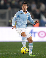 Calcio, semifinale di ritorno di Coppa Italia: Lazio vs Juventus. Roma, stadio Olimpico, 29 gennaio 2013..Lazio midfielder Alvaro Gonzalez, of Uruguay, in action during the Italy Cup football semifinal return leg match between Lazio and Juventus at Rome's Olympic stadium, 29 January 2013..UPDATE IMAGES PRESS/Riccardo De Luca