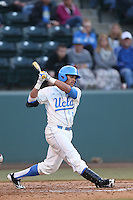 Kevin Williams #5 of the UCLA Bruins bats against the Arizona State Sun Devils at Jackie Robinson Stadium on March 28, 2014 in Los Angeles, California. UCLA defeated Arizona State 7-3. (Larry Goren/Four Seam Images)