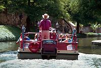 Barge on the Riverwalk canals, San Antonio, Texas