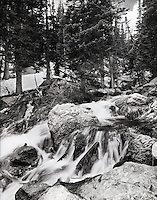 """""""Cascades From Dream Lake""""<br /> Rocky Mountain National Park, Colorado<br />  2011<br /> <br /> Dream Lake is an alpine lake near the Tyndall Gorge in Rocky Mountain National Park. As beautiful cascades come down from Dream Lake, snow from the previous winter can be seen in the background on a sunny summer day.<br /> <br /> 4 x 5 Large Format Film"""