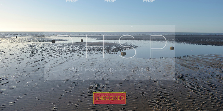 18/03/2011 Rarely seen former jetty supports from Central Pier  are exposed at low tide, Blackpool Lancashire UK......© Phill Heywood.