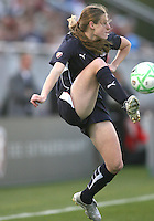 Jill Gilbeau (3) of the Washington Freedom pulls down a high ball during a WPS match against the Chicago Red Stars at Maryland Soccerplex on April 11 2009, in Boyd's, Maryland.  The game ended in a 1-1 tie.