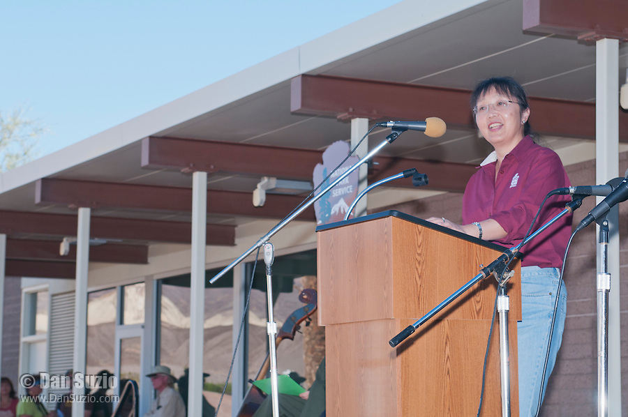 Xiaoling Liu, President and CEO of Rio Tinto Minerals, the successor to 20-Mule Team Borax, addresses the audience at the Grand Re-Opening of the Furnace Creek Visitor Center in Death Valley National Park, California, on November 4, 2012.