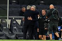 Tottenham Hotspur manager Jose Mourinho hugs Everton manager Carlo Ancelotti after  Tottenham Hotspur vs Everton, Premier League Football at Tottenham Hotspur Stadium on 6th July 2020