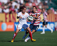 Tobin Heath, Katherine Alvarado.  The USWNT defeated Costa Rica, 8-0, during a friendly match at Sahlen's Stadium in Rochester, NY.
