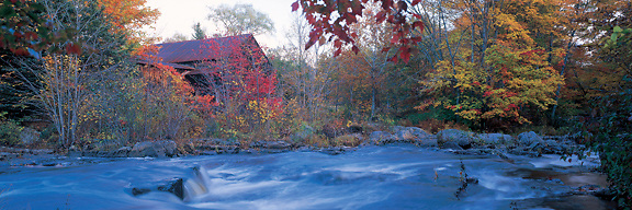 An old grist mill beside the Lamprey River, Lee, New Hampshire. Photograph by Peter E. Randall
