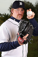 February 27, 2010:  Pitcher Phil Coke (40) of the Detroit Tigers poses for a photo during media day at Joker Marchant Stadium in Lakeland, FL.  Photo By Mike Janes/Four Seam Images