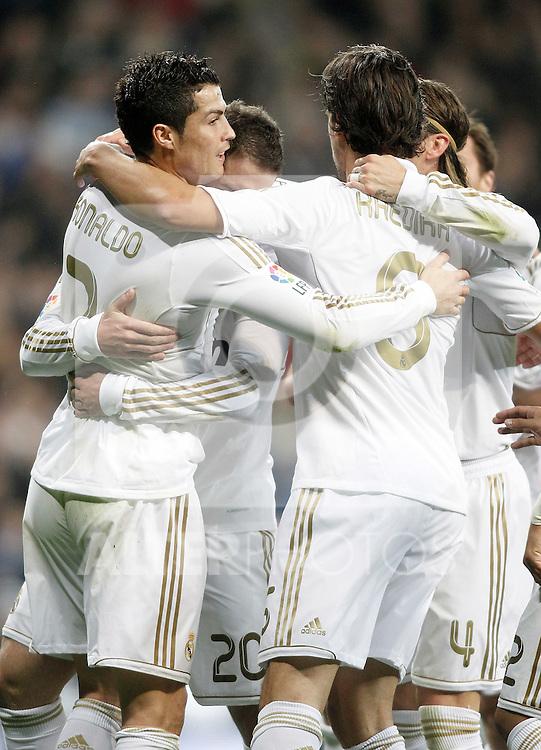 Real Madrid's Cristiano Ronaldo celebrates during La Liga Match. March 04, 2012. (ALTERPHOTOS/Alvaro Hernandez)