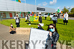 Trisha O'Sullivan foreground with Debenhams workers protesting outside the shop on Wednesday.