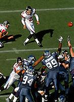 Sep 18, 2005; Seattle, WA, USA; Atlanta Falcons kicker Todd Peterson #2 kicks a field goal late in the third quarter against the Seattle Seahawks at Qwest Field. Mandatory Credit: Photo By Mark J. Rebilas