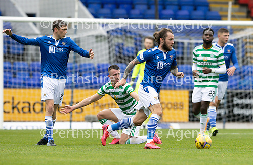 St Johnstone v Celtic…04.10.20   McDiarmid Park  SPFL<br />Stevie May wins the ball back from David Turnbull<br />Picture by Graeme Hart.<br />Copyright Perthshire Picture Agency<br />Tel: 01738 623350  Mobile: 07990 594431