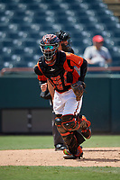 Bowie Baysox catcher Brett Cumberland (28) during an Eastern League game against the Binghamton Rumble Ponies on August 21, 2019 at Prince George's Stadium in Bowie, Maryland.  Bowie defeated Binghamton 7-6 in ten innings.  (Mike Janes/Four Seam Images)