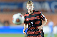 Houston, TX - Friday December 9, 2016:Tanner Beason (3) of the Stanford Cardinal chases down a loose ball against the North Carolina Tar Heels  at the NCAA Men's Soccer Semifinals at BBVA Compass Stadium in Houston Texas.