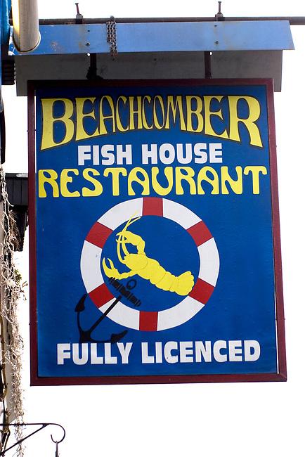 Exterior, Sign, Beachcomers Restaurant, East London, London, Great Britain, Europe