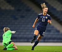 21st September 2021; Hampden Park, Glasgow, Scotland: FIFA Womens World Cup qualifying, Scotland versus Faroe Islands; Jenna Clark of Scotland celebrates after she makes it 6-1 in the 80th minute