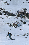 Last slope t the Toubkal refuge.Climbing of the mountain Toubkal (4165 m) with mountaineering skis, highest summit of North Africa. Atlas range. Morocco. Africa