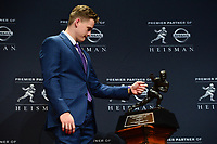 New York, NY - December 14, 2019: LSU Quarterback Joe Burrow holds a press conference after winning the 2019 Heisman Trophy Award at the New York Marriott Marquis December 14, 2019. He is the second quarterback in LSU history to record back-to-back 10 win seasons. He threw for an SEC record 4,715 yards and 48 TDs. (Photo by Don Baxter/Media Images International)