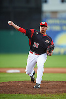 Batavia Muckdogs relief pitcher Javier Garcia (36) during a game against the Hudson Valley Renegades on August 1, 2016 at Dwyer Stadium in Batavia, New York.  Hudson Valley defeated Batavia 5-1. (Mike Janes/Four Seam Images)