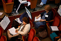 Jury members including Skaila Kanga of the United Kingdom, left, and Milda Agazarian of Russia listen to a performance during Stage III at the 11th USA International Harp Competition at Indiana University in Bloomington, Indiana on Wednesday, July 10, 2019. (Photo by James Brosher)