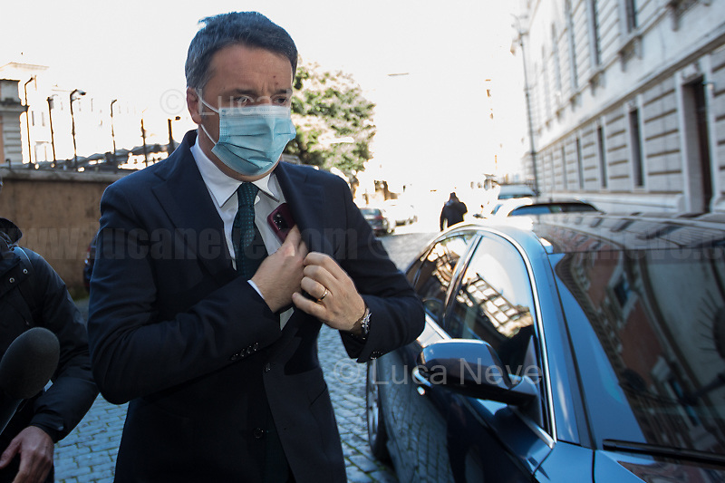Rome, Italy. 09th Feb, 2021. Matteo Renzi MP, leader of Italia Viva Party arrives at the Italian Parliament to have a meeting with the designated Italian Prime Minister - and former President of the European Central Bank -, Mario Draghi. Today is the last day of Mario Draghi's consultations at Palazzo Montecitorio, meeting delegations of the Italian political parties in his attempt to form the new Italian Government.