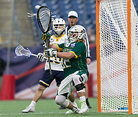 Foxborough, Massachusetts - May 27, 2018: NCAA Division II tournament final. Merrimack College (white/blue) defeated Saint Leo University (green/white), 23-6, at Gillette Stadium.<br /> Save.
