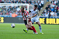 Saturday 19 October 2013 Pictured: ( L-R )  Steven Fletcher and Jordi Amat <br /> Re: Barclays Premier League Swansea City vSunderland at the Liberty Stadium, Swansea, Wales