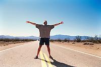 Steve Worland in the desert near Las Vegas, 1999.    scanned   November    2013.      pic copyright Steve Behr / Stockfile