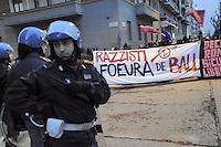 - Milan, contestation of extreme left-wing young people organizations to a demonstration of racist and xenophobic party Lega Nord  against a Rom nomads camp<br /> <br /> - Milano,  contestazione di giovani di estrema sinistra dei Centri Sociali ad una manifestazione del partito xenofobo e razzista Lega Nord contro un accampamento di nomadi Rom