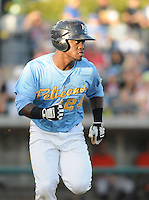 Infielder Odubel Herrera (24) of the Myrtle Beach Pelicans in a game against the Frederick Keys on August 4, 2012, at TicketReturn.Com Field in Myrtle Beach, South Carolina. Myrtle Beach won, 4-3. (Tom Priddy/Four Seam Images)