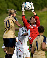 Mexico's Sophia Perez pulls down a ball in front of Abby Wambach. .International friendly, USA Women vs Mexico, Albuquerque, NM,.October 20, 2006.