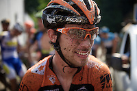 a muddy Michel Kreder (NLD/Roompot) is still able to smile at the 2nd neutralisation of the race<br /> <br /> 90th Schaal Sels 2015