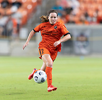 HOUSTON, TX - SEPTEMBER 10: Allysha Chapman #2 of the Houston Dash chases after a loose ball during a game between Chicago Red Stars and Houston Dash at BBVA Stadium on September 10, 2021 in Houston, Texas.