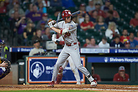 Peyton Graham (20) of the Oklahoma Sooners at bat against the LSU Tigers in game seven of the 2020 Shriners Hospitals for Children College Classic at Minute Maid Park on March 1, 2020 in Houston, Texas. The Sooners defeated the Tigers 1-0. (Brian Westerholt/Four Seam Images)