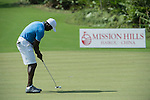 Dwight Yorke plays during the World Celebrity Pro-Am 2016 Mission Hills China Golf Tournament on 22 October 2016, in Haikou, China. Photo by Weixiang Lim / Power Sport Images